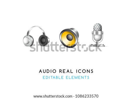 Set of Real Cute Audio Elements on White Background . Isolated Vector Illustration