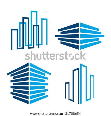 set of real estate / building icons, vector illustration