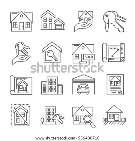 Set of real estate Related Vector Line Icons. Includes such Icons as a house, apartment, keys, garage, cottage, house layout, contract, residential building