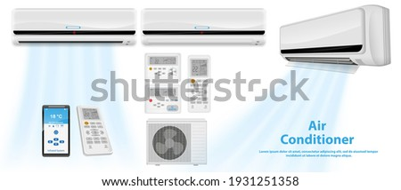 set of realistic air conditioner or split air conditioner system with remote or temperature air conditioner for office or air conditioner with mobile application control. eps 10 vector