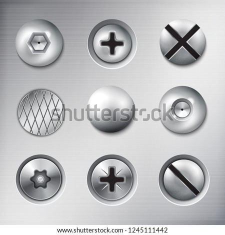 Set of realistic attached fasteners screws bolts nails on metal texture background isolated vector illustration