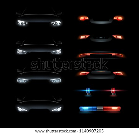 Set of realistic automotive auto car led glowing intellectual laser matrix xenon headlights front back rear lights bars vector realistic illustration isolated on dark black background