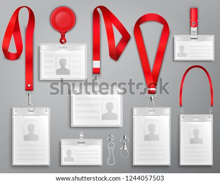 Set of realistic badges id cards on red lanyards with strap clips, cord and clasps vector illustration