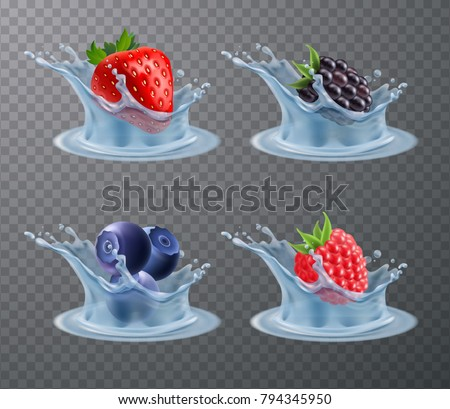 Set of realistic berries strawberry, raspberry, blueberry, blackberry in water splashes isolated on transparent background vector illustration