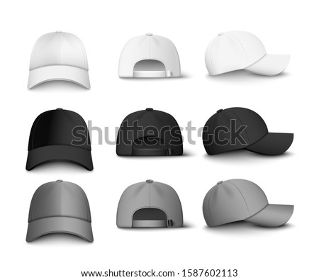 Set of realistic black, white and gray baseball cap or hat. Mockup and blank template of baseball uniform cap with front, back and right side view. Isolated vector illustrations set.