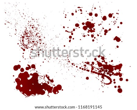 Set of realistic bloody splatters. Drop and blob of blood. Bloodstains. Red puddles. Vector illustration isolated on white background.
