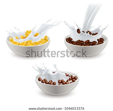 Set of realistic breakfast cereals in white ceramic bowls with splashes of milk isolated vector illustration