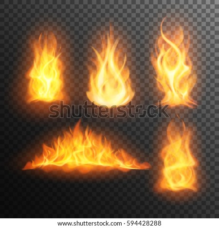set of realistic burning fire