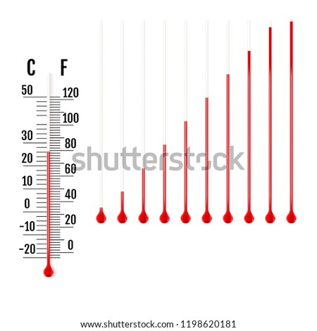 Set of realistic capillary tube with fluid and bulb. Parts of liquid thermometers. Scale of measuring temperature in Celsius and Fahrenheit. Vector