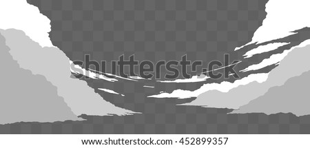 set of realistic clouds in flat