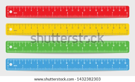 Set of realistic colorful rulers marked in inch and centimeters isolated on white background. Double side measuring tool. School supplies. Flat icon design in red, blue, yellow and green color