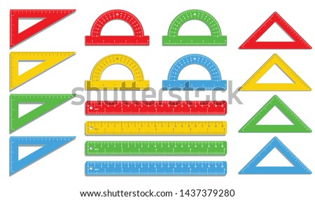 Set of realistic colorful rulers, protractors, triangles isolated on white background, measuring ruler tool marked in inch and centimeters, school supplies, office supply. Flat icon design