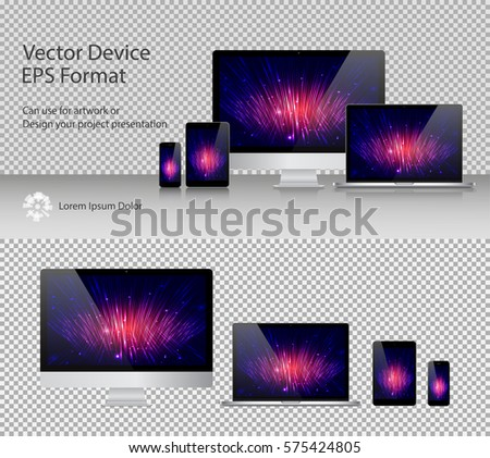Set of Realistic Computer Monitor, Laptop, Tablets and Smartphone with Power On Screen Isolated. Can Use for Template Presentation or Banner. Electronic Gadgets, Device MockUp. Vector Illustration.