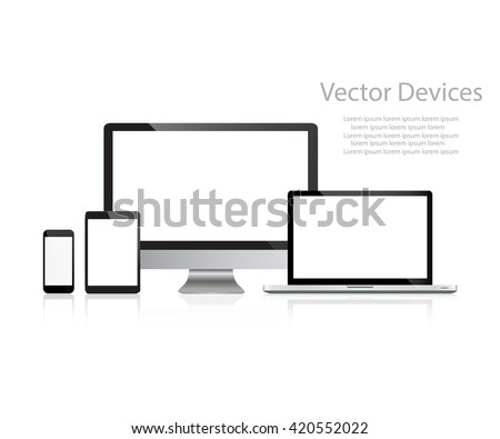 Set of realistic computer monitors, laptops, tablets and mobile phones. Electronic gadgets, isolated, on white  background