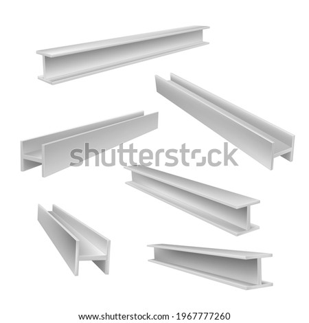 Set of realistic construction beams vector illustration in isometric style. Collection different metal balks for engineering building industrial works isolated on white. Heavy manufacturing material Stockfoto ©