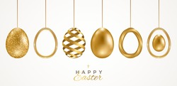 Set of realistic 3d golden Easter eggs isolated on white background. Vector illustration. Poster, holiday banner, flyer or greeting voucher, brochures design template layout. Place for text.