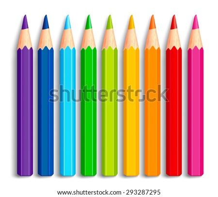 set of realistic 3d multicolor
