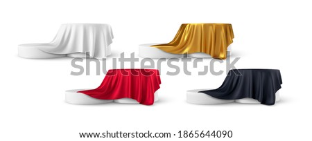 Set of realistic 3d round product podium display covered with fabric drapery folds isolated on white background. White, red, black, gold color shiny silk fabric. Vector illustration EPS10