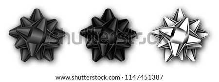 Set of realistic decorative black and silver bow isolated on white with shadow. Template for a business card, banner, poster, notebook, invitation. Vector illustration for your design.