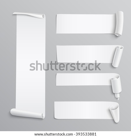 Set of realistic detailed white paper stickers or banners on white background. Vector illustration