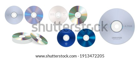 set of realistic dvd high speed or cd disc isolated or stack of compact disc realistic storage disc concept. eps 10 vector Stock photo ©