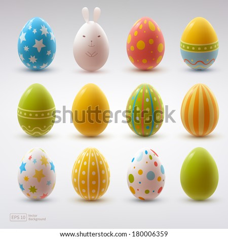 set of realistic eggs on white