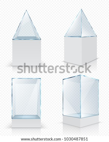 Set of realistic empty glass showcases for exhibition on transparent background isolated vector illustration