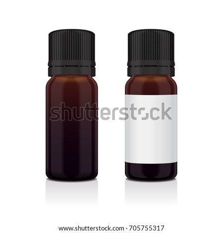 Set of realistic essential oil brown bottle. Mock up bottle cosmetic or medical vial, flask, flacon 3d illustration for your design