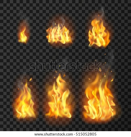 set of realistic fire flames of