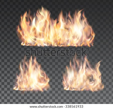 set of realistic fire flames on