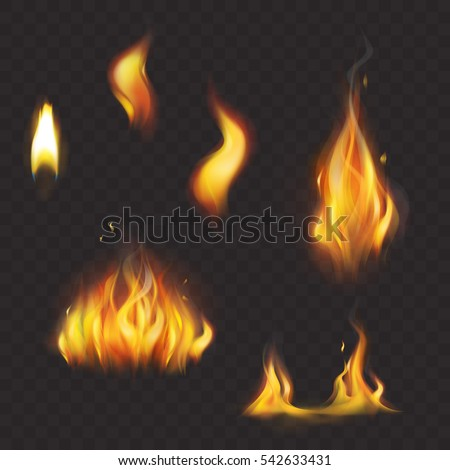 set of realistic flame tongues