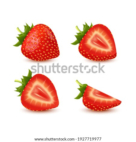 Set of realistic fresh strawberry with leaves, fruit cut in half, fruit without their calyx, isolated on white background. 3d vector illustration. Can be used in your own design, appearance.