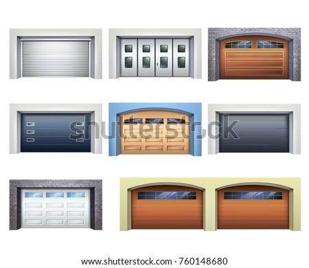 set of realistic garage doors