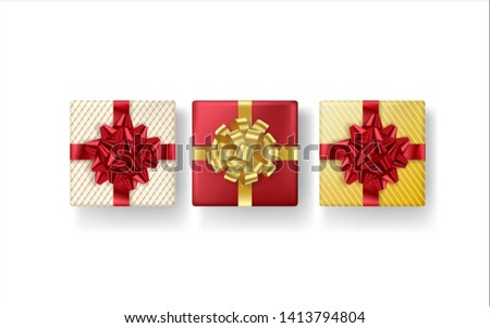 Set of realistic gifts box with red and golden bow on white background. Vector illustration. Top view.