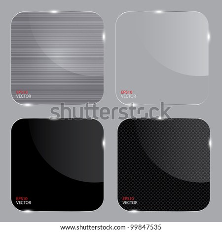Set of realistic glass frames. Vector illustration.