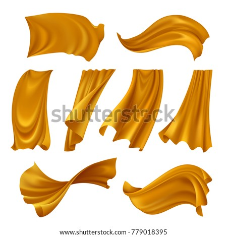 Set of realistic gold pieces of cloth fluttering on wind isolated on white background vector illustration