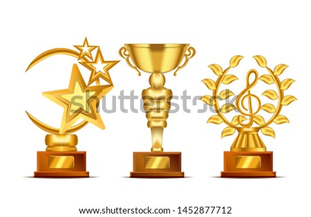 Set of realistic golden, trophy cup or award with text plate for champions. Sport winners cup. Vector Illustration
