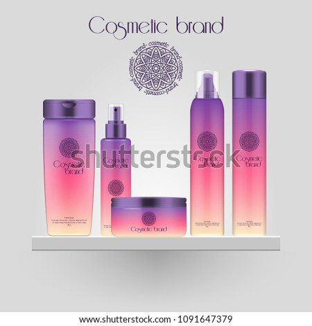 Set of realistic gradient color cosmetic bottle. 3D mockup bottle isolated on white background. Cosmetic products package