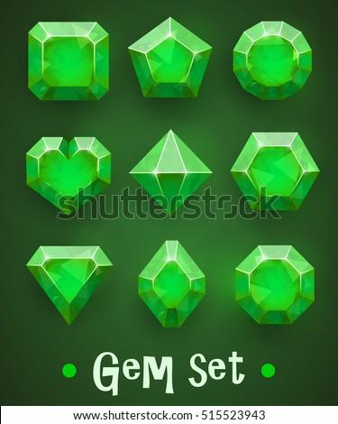 set of realistic green gems of