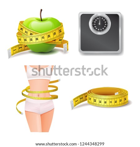 Set of realistic health and body care icon, diet and weight loss, green apple, yellow measure tape, slender woman body, vector illustration