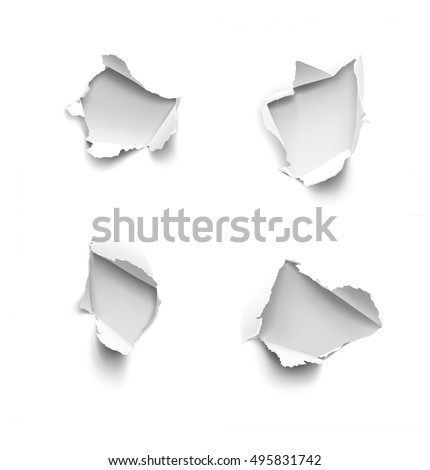 Set of realistic holes in paper isolated on white background. Vector illustration element ready for your design.