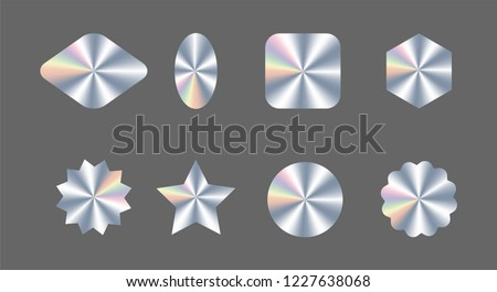 Set of realistic holograms of different shapes for award design, product guarantee, label design