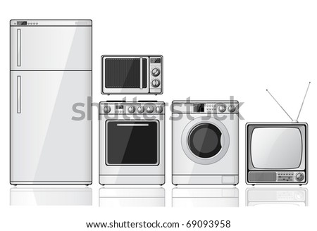 Set of realistic household appliances over white background (vector)