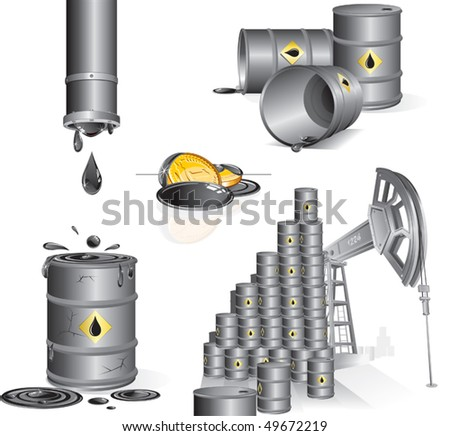 Set of realistic industrial vector illustrations, icons. Oil pump, oil barrels, gasoline money, oil pipes - stock vector