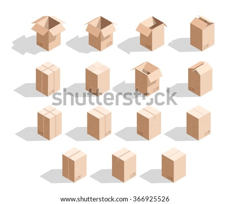 Set of 15 realistic isometric cardboard boxes with texture. Templates box for design