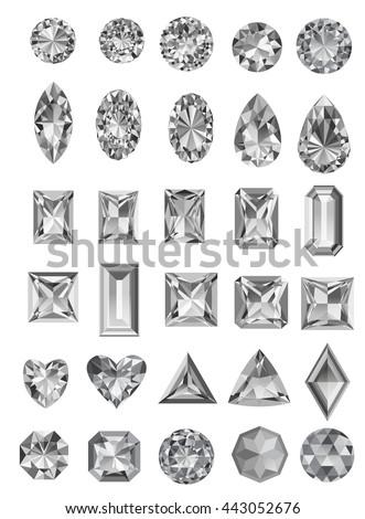 set of realistic jewels