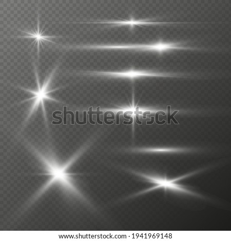 Set of realistic light glare, highlight. Collection of beautiful bright lens flares. Lighting effects of flash. Silver glitter shining stars, glowing sparks on transparent background. Vector EPS10
