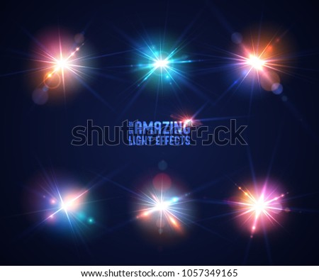 Set of realistic light glare, highlight. Collection of beautiful bright lens flares. Sparkling light effects of flash with bokeh, rays and glitter particles. Vector illustration.