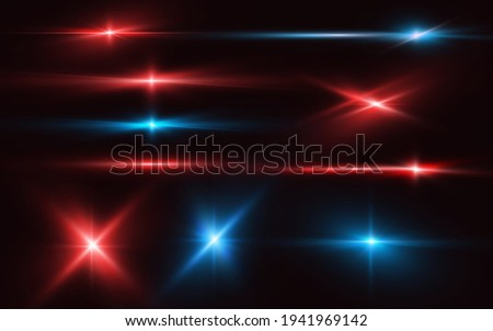 Set of realistic light glare, neon highlight. Collection of bright lens flares. Lighting effects of flash. Red and blue glitter shining stars, glowing sparks isolated on black background. Vector EPS10