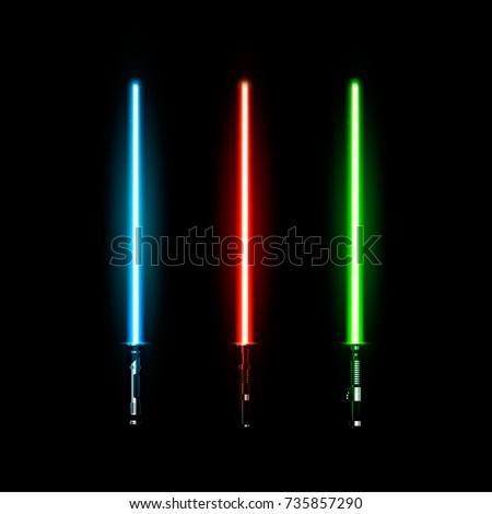 set of realistic light swords